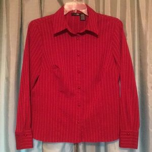East 5th Red Glittering Pin Stripe Blouse MP